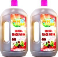 Aloe clean Herbal Floor Wash(Pack of 2) - Contain Reetha + Aloe Vera Juice + Citronella Oil + Lemon Grass Oil Aloe Vera(1 L, Pack of 2)