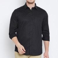 Delvinbroad Men Polka Print, Self Design Casual Black Shirt