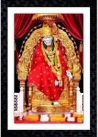 Janki Online Modern Art Canvas Shirdi Sai Baba Large Glass Wall Paintings with Frame for home decoration item for bedroom for sale Canvas 20 inch x 14 inch Painting