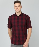 Highlander Men's Checkered Casual Black, Maroon Shirt