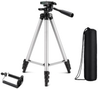 casadomani Portable Adjustable Aluminum High Quality Lightweight Camera Stand With Three-Dimensional Head & Quick Release Plate For Video Cameras, Tripod With Mobile Clip Holder Bracket, Fully Flexible Mount Cum Tripod Tripod(Silver & Black, Supports Up to 1500)