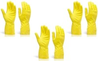 TASHKURST Hand Care Flocklined Household /Kitchen Cleaning Wet and Dry Rubber Glove Set Yellow Large-3pair Wet and Dry Glove Set(Large Pack of 3)