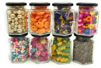 Satyam Kraft Hexagon Glass Jar  - 220 ml Glass Spice Container(Pack of 8, Clear)