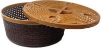 nakoda (Set of 3) Premium Quality Plastic Tapered Nakoda Hollow Galaxy Round Basket Woven Storage Box/Organizer / bin/Basket with lid and Holding Space (Brown) Plastic Fruit & Vegetable Basket(Brown)