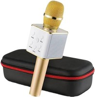 TSV Q7 Wireless Multi-Function Karaoke Square Model With Round Handle Microphone Bluetooth Speaker Golden Microphone