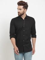 F2M Men Solid Casual Black Shirt