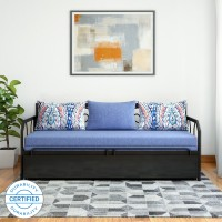 FurnitureKraft Caen Double Metal, Engineered Wood Sofa Bed(Finish Color - Blue Mechanism Type - Pull Out)
