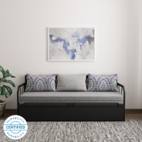 FurnitureKraft Caen Double Metal, Engineered Wood Sofa Bed(Finish Color - Grey Mechanism Type - Pull Out)