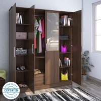 Flipkart Perfect Homes Julian Engineered Wood 4 Door Wardrobe(Finish Color - Walnut, Mirror Included)