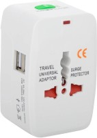 spincart Universal Adapter Worldwide Travel Adapter with Built in Dual USB Charger Ports Worldwide Adaptor(White)