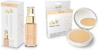 iba halal iba natural beige foundation and Perfect Look Long-Wear Mattifying Compact medium shell 02(Set of 2)