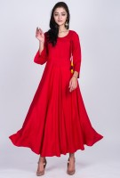 Divastri Women Solid Anarkali Kurta(Red)