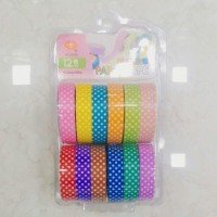 R H lifestyle Polka Dot Colorful and Attractive Adhesive Paper Tapes for Decorative Purposes Like Art and Craft Projects (10mm 12 pcs)