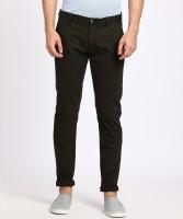 Ruggers Slim Fit Men Black Trousers