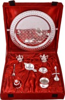 Shreeng Silver Plated Royal Pooja Thali Set With Ganesh Laksmi Stainless Steel(9 Pieces, Silver)