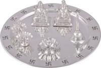 Shreeng silver plated ganesh laxmi swastik pooja thali 6pcs. Stainless Steel(6 Pieces, Silver)