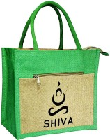 Crack4Deal Natural Jute Burlap Multipurpose Lunch Bag Combination with Green Color and SIVA Printed (Size- Length-11