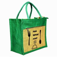 Crack4Deal Natural Jute Burlap Multipurpose Lunch Bag Combination with Green Color and Slogan Printed (Size- Length-11