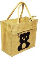 Crack4Deal Natural Jute Burlap Multipurpose Lunch Bag Teddy Bear Printed (Size- Length-11