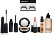 blushinsta combo set of eyeliner eyemascara compact giambattista lipstick eyelashes concealer face and body foundation(Set of 6)