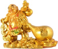 Dcreations Golden Laughing Buddha With Potli Decorative Showpiece  -  10.16 cm(Polyresin, Multicolor)