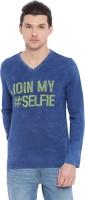 Trove Typography Men V-Neck Denim Blue T-Shirt