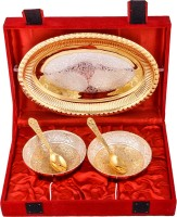 Shreeng Silver & Gold Plated 2 Heavy Flower Bowl With Spoon With Tray Brass Decorative Platter(Gold, Silver, Pack of 5)