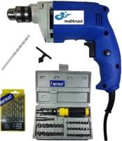 Inditrust Combo of Powerful 400W drill machine 1 Masonry bit 13pc HSS drill set and 41pc socket set Pistol Grip Drill(10 mm Chuck Size)