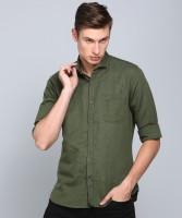 Peter England University Men Solid Casual Green Shirt