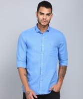 Peter England University Men Solid Casual Blue Shirt
