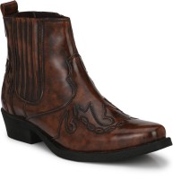 Delize Leather CowBoy High Ankle Boots Boots For Men(Brown)