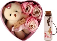 Lata Heart shape box with 3 Flower,Message bottle and 08 cm cute teddy combo Artificial Flower, Message Pills, Soft Toy Gift Set