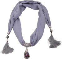 saphira Fashion Jewellery Stylish Charm Handmade Scarf Fabric Necklace For girl and Women - ( Grey) Fabric Necklace
