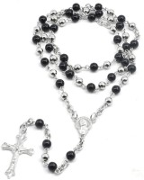 Men Style 6 mm Black Round Crystal Rosary Bead Long Necklace Silver Christian Jesus Cross Pendant For Catholic Christmas Gift  Stainless Steel, Crystal