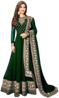 Sukhvilas Fashion Faux Georgette Embroidered Semi-stitched Salwar Suit Dupatta Material