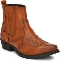 Delize Leather CowBoy High Ankle Boots Boots For Men(Tan)