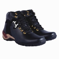 DLS black casual party wear boots shoes for men's Boots For Men(Black)