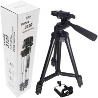 Mezire  3120 Portable Camera Tripod with Mobile Holder Clip, 40.2inch, 3D Head and Quick Release Plate-Black Tripod  (Black, Supports Up to 1500) Tripod(Black, Supports Up to 1500 g)