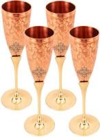 IndianArtVilla (Pack of 4) Set of Copper Brass Leaf Designed Champange Glasses- 150 ML Each,Drinkware Glass Set(600 ml, Copper)