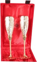 IndianArtVilla Set of 2 Silver Plated & Brass Champange Wine Glass With Red Box 2 - Piece Bar Set(Silver Plated)