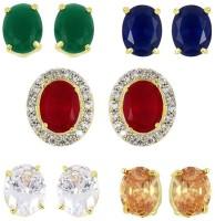 Zeneme Gold-plated Multi-color 5 In 1 Interchangeable Stud Earrings For Women/girls Alloy Stud Earring