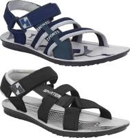 Bersache Men Grey, Blue, Black Sports Sandals