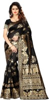 Shoppershopee Printed Kanjivaram Poly Silk, Poly Silk Saree(Black)