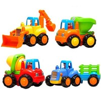 kajal toys Unbreakable Construction Vehicle Set of 4 - Friction Powered - Tractor , JCB , Mixer , Dumper (Multicolor)(Multicolor, Pack of: 1)