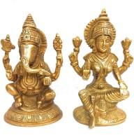 Athizay Laxmi Ganesh Murti brass idols Medium size 9 cm tall Antique gold texture n Finish Decorative Showpiece  -  15 cm(Brass)