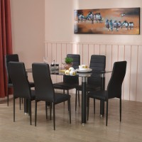 @home by Nilkamal ISAAC Metal 6 Seater Dining Set(Finish Color - Black)