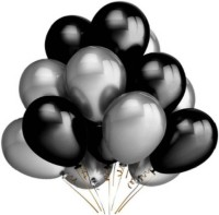 TRISHRA Solid Metallic HD Balloons – Black & Silver - Pack of 50 Balloon(Silver, Black, Pack of 50)