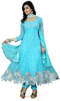 Mert India Poly Georgette Embroidered Semi-stitched Salwar Suit Dupatta Material(Semi Stitched)