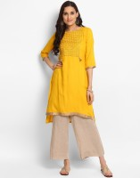 Anmi Women's Geometric Print Straight Kurta(Yellow)