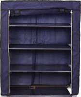 MeRaYo Cabinet-4 Layer Folding with Fabric Cover Metal Collapsible Shoe Stand(Blue, 4 Shelves)